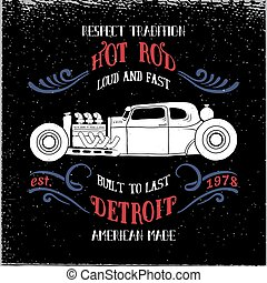 Hot rod vehicle design and decoration elements.Typography...
