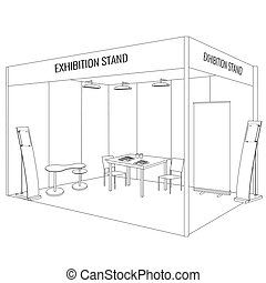 Vector Blank trade exhibition booth stand. Trendy outline...