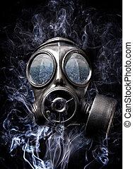 gas mask and smoke