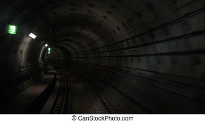Moving through the underground tunnel - Slow motion of...