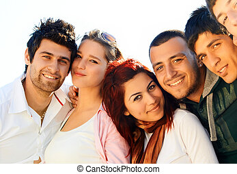 group of friends - young Turkish student group of friends in...