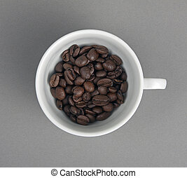 Top view of the cup filled up with coffee bean - Top view of...