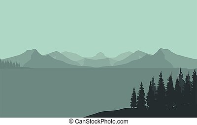 Silhouette of mountain and sea