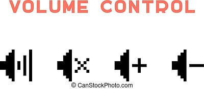 volume control set in pixel art. concept of 8 bit videogame,...