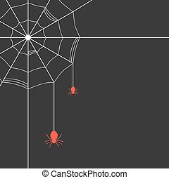 white cobweb with red spiders concept of arachnophobia,...