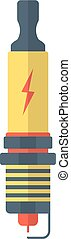 yellow and red spark-plug icon with lightning sign. concept...