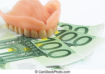 dentition and euro bills - dentition and euro notes,...