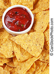 Tortilla chips slices - Tortilla chips with hot salsa dip...