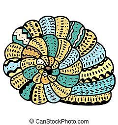 Seashell, kreska, sztuka