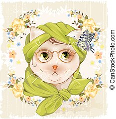 Portrait of the hipster cat with glasses, roses and butterfly. Vintage vignette with  flowers. Victorian style
