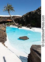 natação, piscina, em, a, Jameos, del, Agua.,...