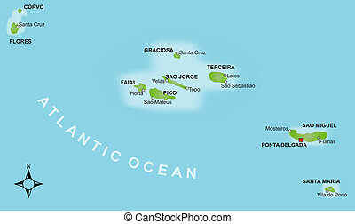 Map Azores - A stylized map of the Azores showing the...
