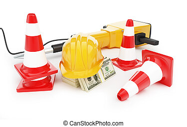 jackhammer construction helmet traffic cones, road cone