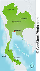 Map Thailand - A stylized map of Thailand showing different...