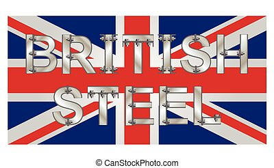 British Steel bolted text over the Union Jack flag promoting...