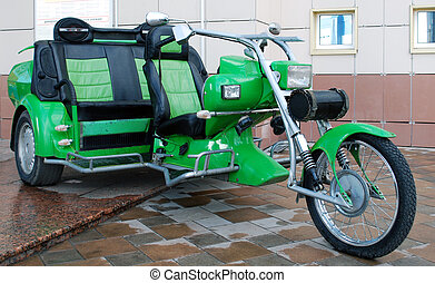 Tricycle - Beautiful custom green tricycle with three seats