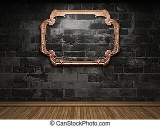 illuminated stone wall and frame