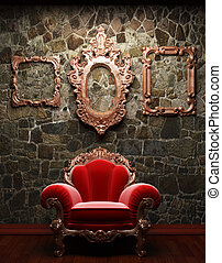 illuminated stone wall and chair