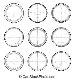 Sniper crosshairs set - Set of military crosshair sniper...