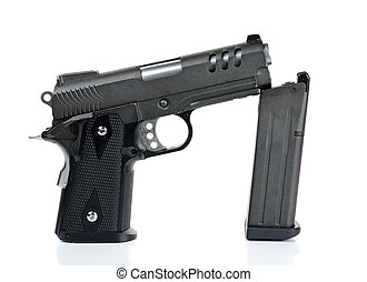 handgun, gun, weapon isolated on white background