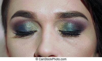 Macro shot of woman's beautiful eye Sexy view, sensual look....