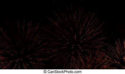 Fantastic Fireworks Display Show In Night Sky - Lots of...