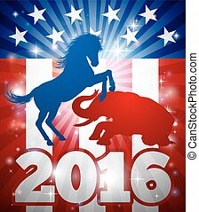 2016 American Election Concept - Mascot animals of American...