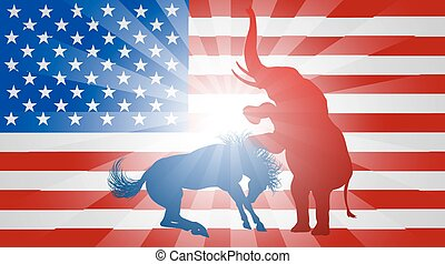 American Election Concept Elephant Beating Donkey - A donkey...