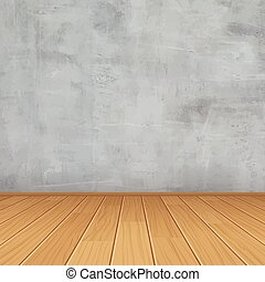 vector empty room with concrete wall and wooden floor