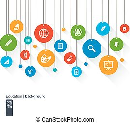 Abstract education background with lines, circles and icons.