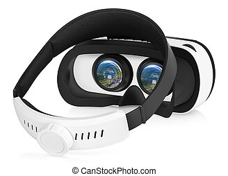 VR virtual reality headset - Half turned back view of VR...