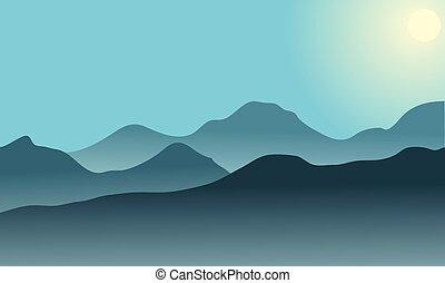 Silhouette of desert at sunrise