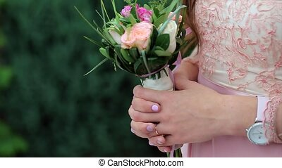 Close Up of Wedding Floral Decorations for Bridesmaids....
