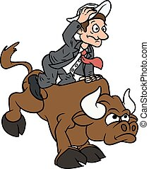 Businessman on bull - Illustration of the businessman trying...