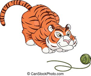 Tiger play with ball of thread 2 - Illustration of the tiger...