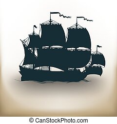 old ship pictogram - simple square pictograms ancient ship...