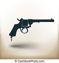 pictogram old revolver - simple square pictogram old...