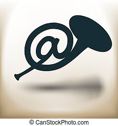 postal horn pictogram - simple square pictogram mail horn in...