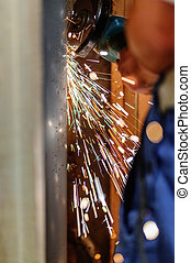 Grinding pipe - Grinding iron pipe with a grinder and...