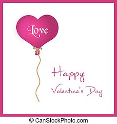 pink helium balloon heart shape valentine card eps10