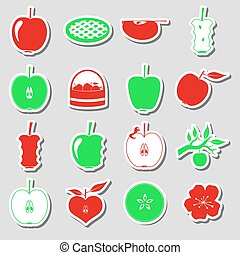 apple theme red and green simple stickers set eps10