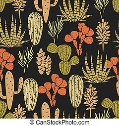 Succulents plant vector seamless pattern Botanical black and...