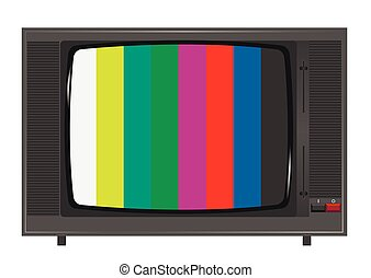 Old TV set with colorful ribbons on the screen. Retro...