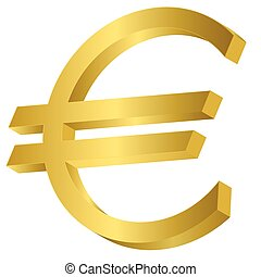 Golden Euro sign - Golden metal Euro sign. Money symbol,...
