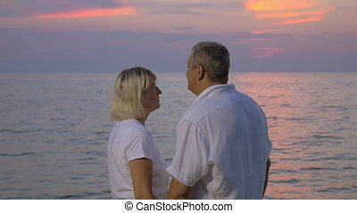 Smiling senior couple by the ocean at sunset