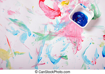 Painted messy background - Painted messy fingerprints over...