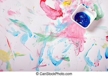 målad, rörig, bakgrund
