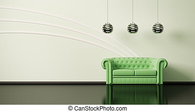Green sofa in room 3d