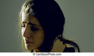 Heart broken woman feeling sad portrait - Unhappy woman...