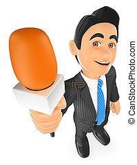 3D Reporter with a microphone - 3d business people. Reporter...
